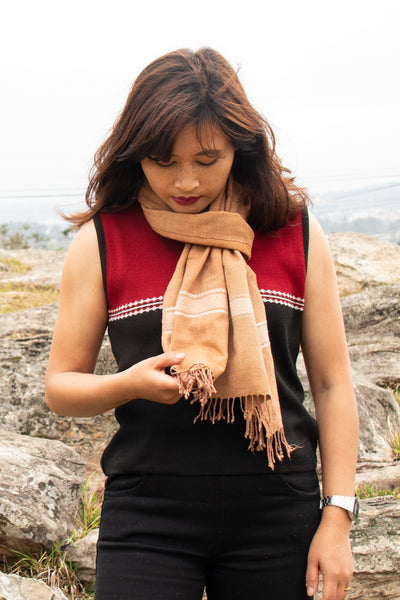 Eri Silk Scarf Hand Woven with Design Weave in Natural Fiber Cocoon Color - Perfect Eri Silk Gift