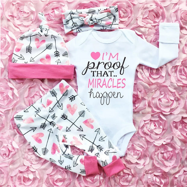 Floral Pants Newborn Baby Girls Clothes Ruffle Romper Headband Hat Outfit Sets