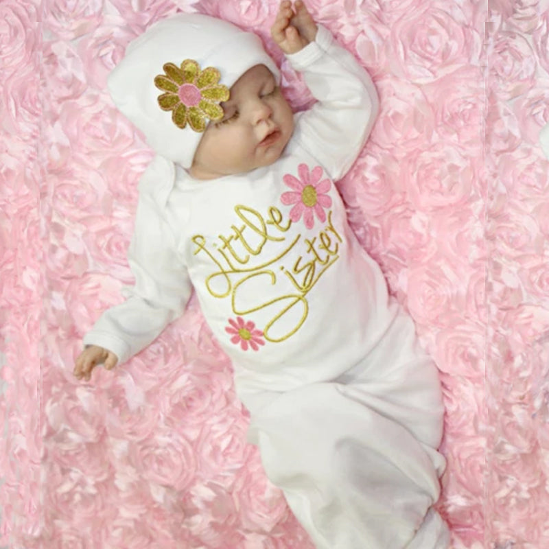 YOUNGER TREE Newborn Baby Girl Cotton Nightgowns Infant Pajamas Little Sister Floral Sleeping Bag Hat Set