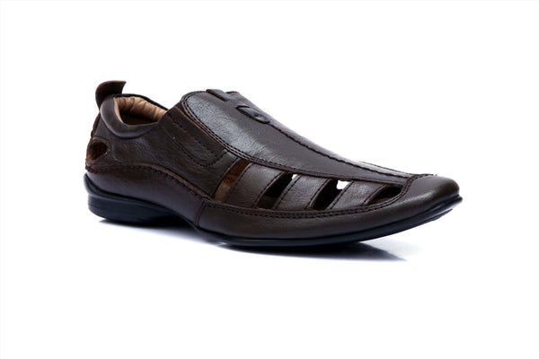 BROWN LEATHER SANDALS FOR MEN