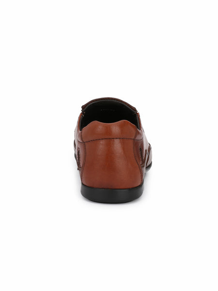 TAN LEATHER CASUAL PARTY SANDALS FOR MEN