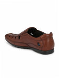 BROWN LEATHER CASUAL SANDALS FOR MEN