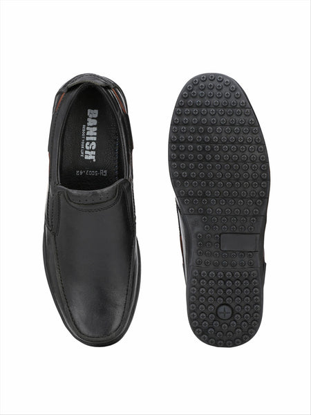 Banish Men's Black Genuine Leather Slip On formal Shoes