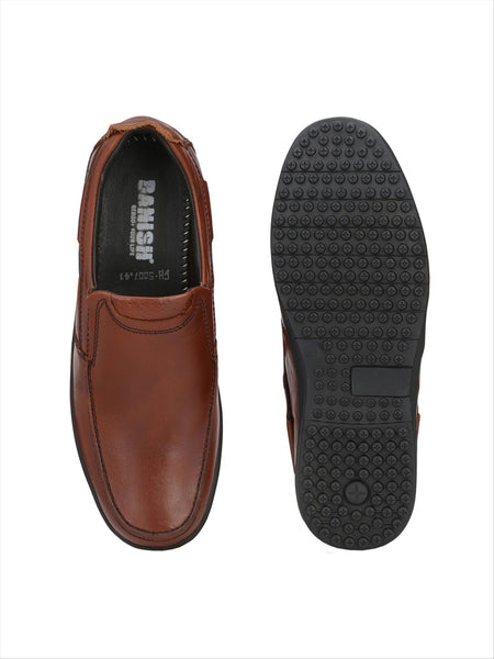 Banish Men's Tan Genuine Leather Slip On formal Shoes