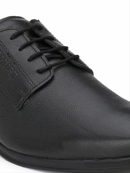 Banish Men's Black Genuine Leather Derby Formal Shoes