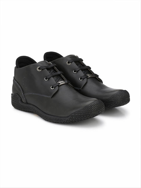 Banish Men's Black Genuine Leather Casual Shoes