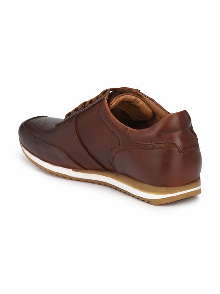DARK TAN LEATHER SPORTS SNEAKERS