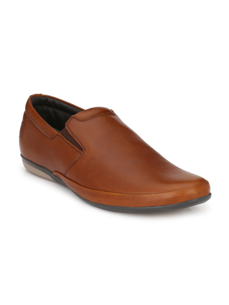 Banish Men's Tan Genuine Leather Slip On Semi Formal Shoes