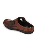 Banish Men's Brown Genuine Leather Sandals Mules