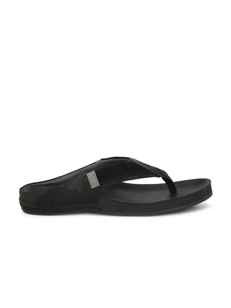Banish Men's Black Genuine Leather Slippers