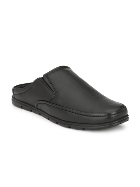 Banish Men's Black Genuine Leather Casual Mules