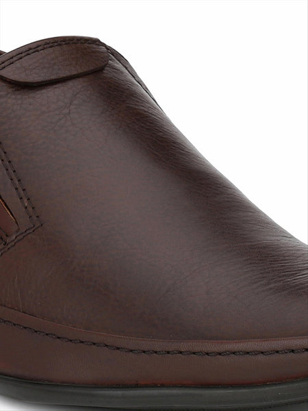 Banish Men's Brown Genuine Leather Slip On formal Shoes