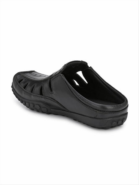 Banish Men's Black Genuine Leather Casual Sandal