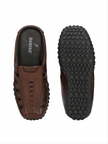 Banish Men's Brown Genuine Leather Casual Sandal