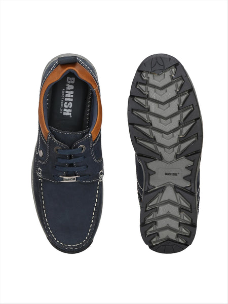 Banish Men's Blue Genuine Leather Casual Shoes