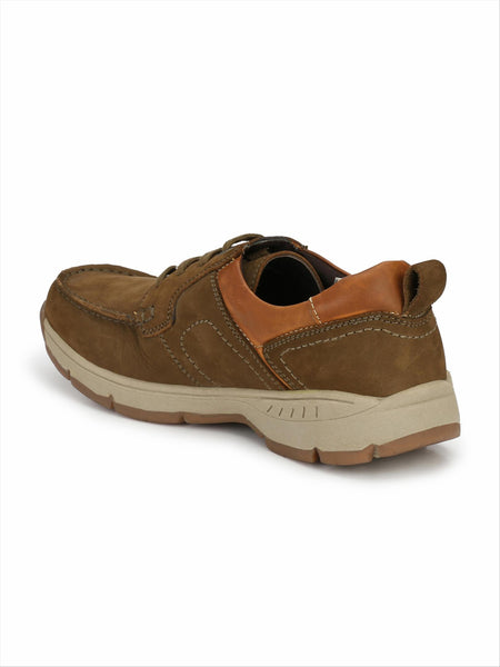 Banish Men's Olive Genuine Leather Casual Shoes