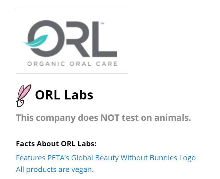 ORL included at part of PETA's Beauty without Bunnies Program