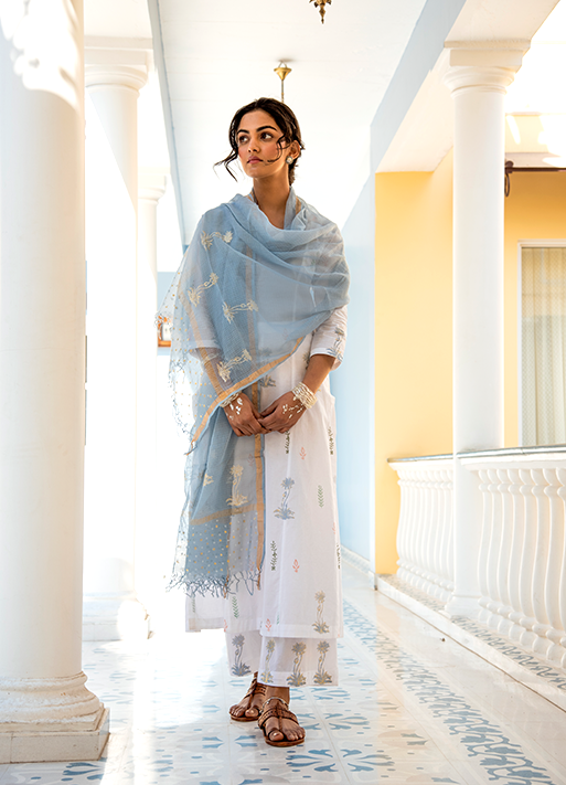 FOIL PRINTED MUGHAL SET WITH KOTA DUPATTA - WHITE BLUE