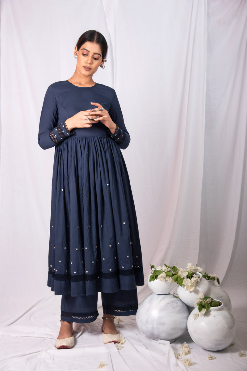 FIZA BADLA ANARKALI KURTA SET OF 2- NAVY