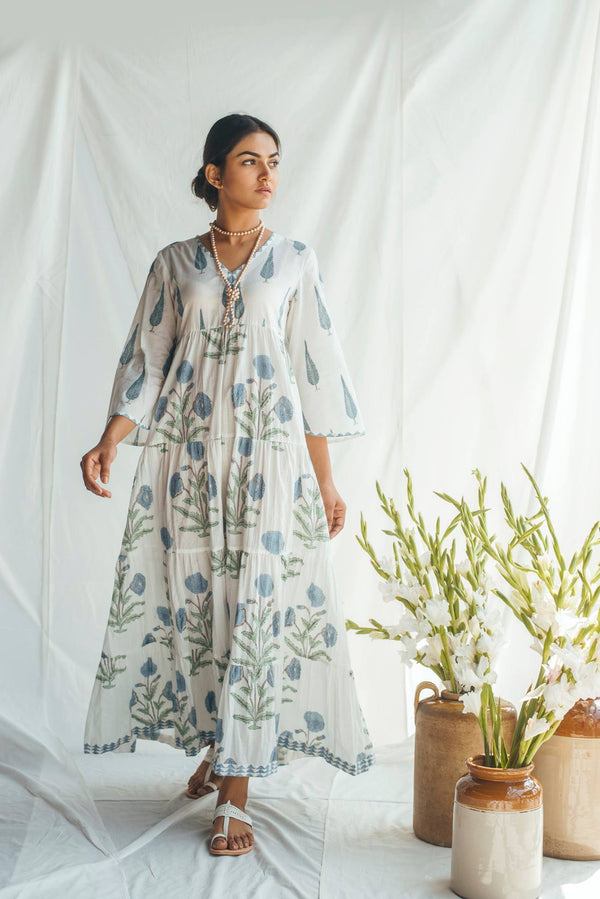 Blue Chinar and Mughal Print Maxi