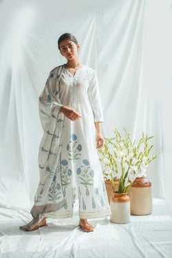 Blue Mughal Print Straight Set of 3