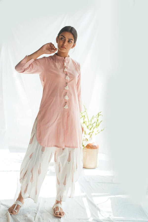 Pink Chinar Dhoti Set