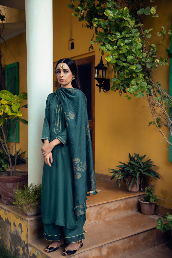 EMERALD GREEN PALAZZO SUIT SET OF 3