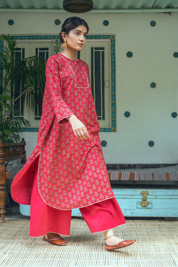 Red - BAHAAR -STRAIGHT KURTA