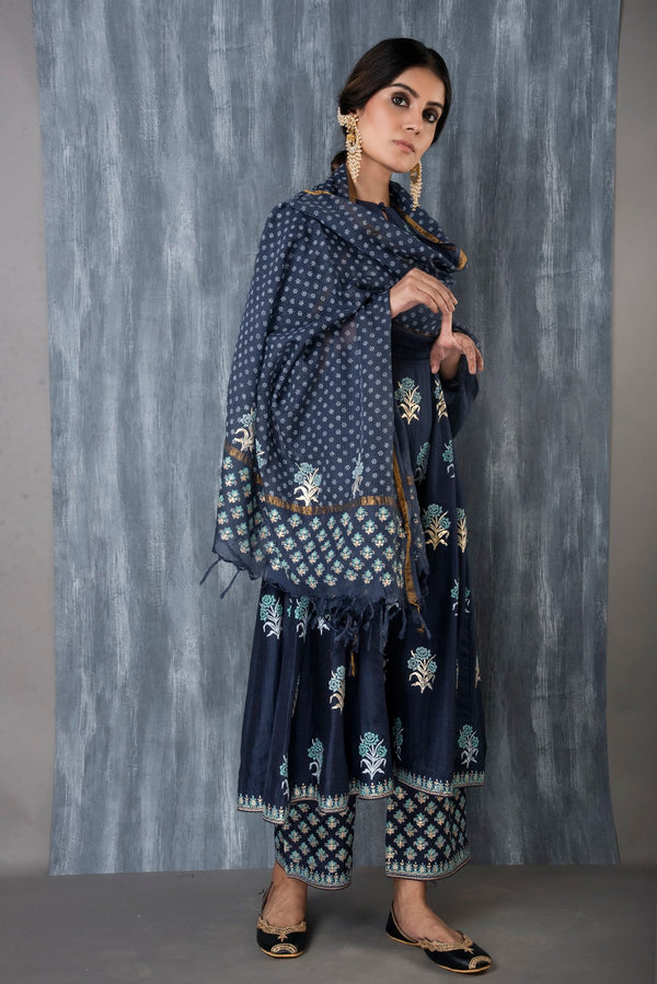 FOIL PRINTED ANARKALI SET - MIDNIGHT BLUE