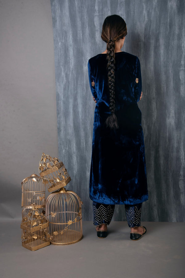 HAND EMBROIDERED VELVET SALWAR SET OF 2 - MIDNIGHT BLUE