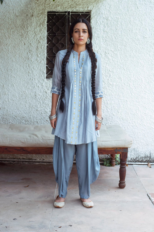 Mirror embroidered chanderi kurta- Blue