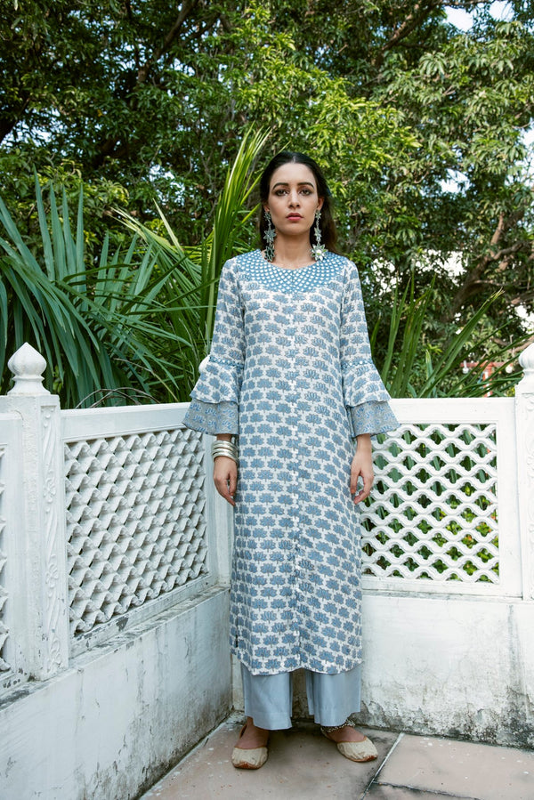 Lotus embroidered bell sleeve kurta- Blue