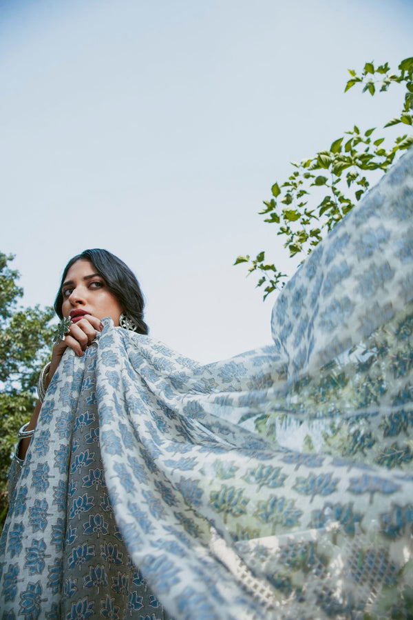 Lotus block printed Dupatta- Blue