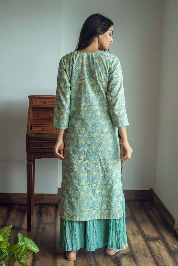 Green yellow block printed kurta with crinkled palazzo set of 3