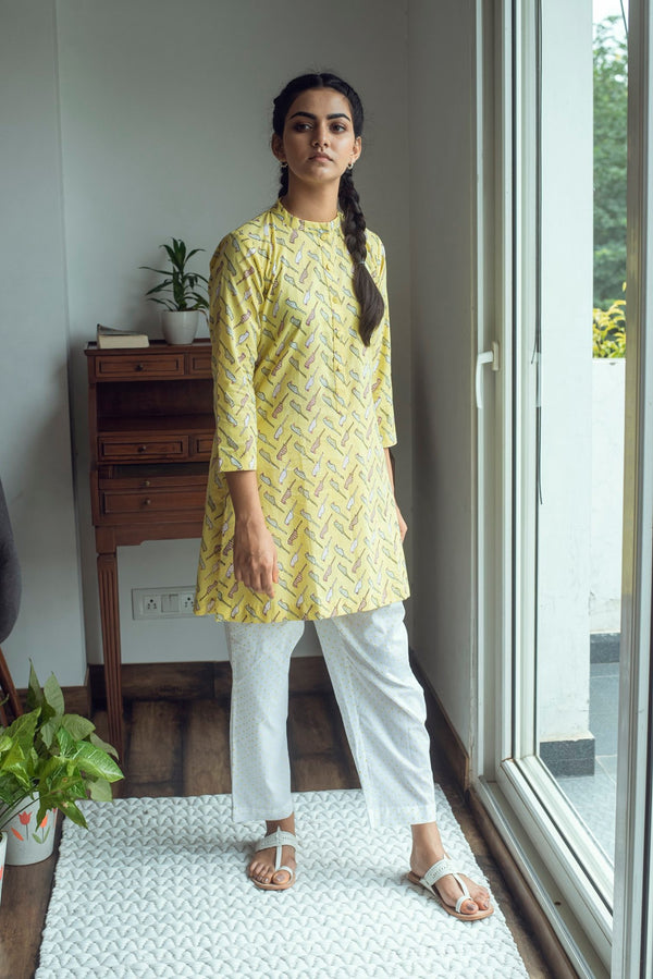 Bird Print Lounge set- Yellow