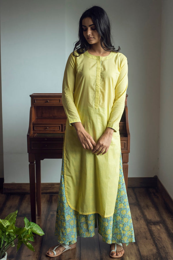 Solid Kurta with Asymmetric Palazzo - Yellow
