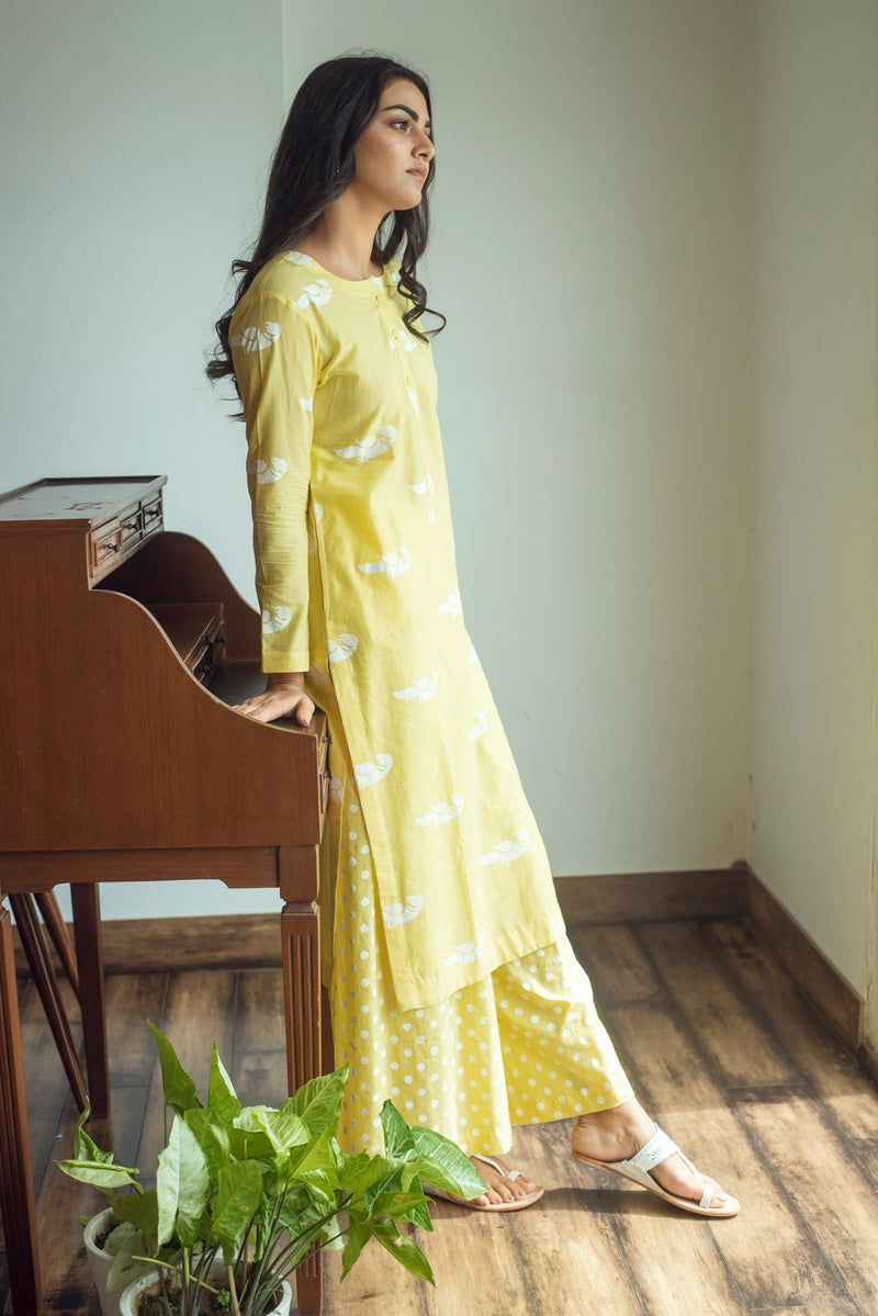 White bird print kurta palazzo set- Yellow