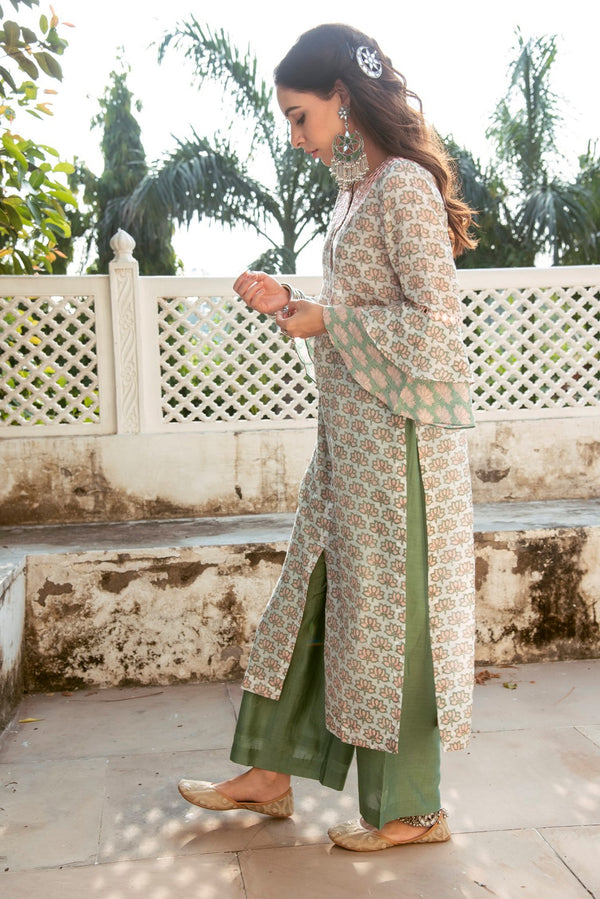 lotus embroidered bell sleeve kurta with palazzo set of 2- Green