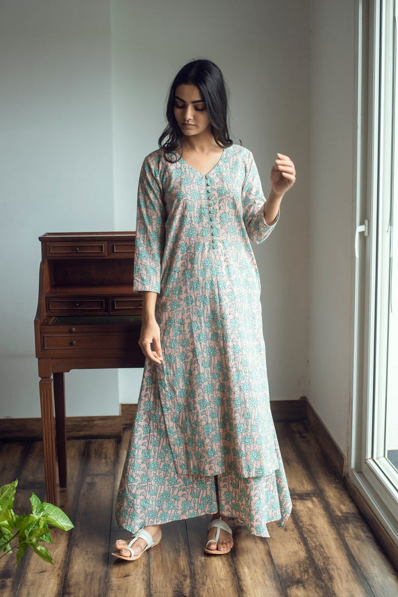 Block printed kurta with asymmetric palazzo set of 3 - Pink