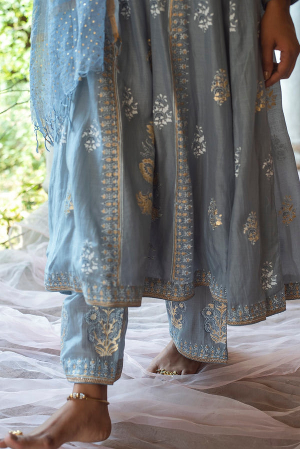 Foil printed Anarkali set of 3- Blue