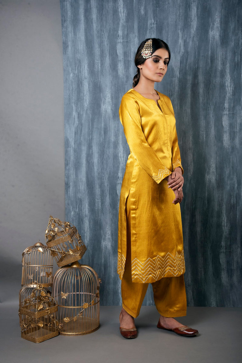 MASHRU SALWAR KAMEEZ SET OF 2 - MUSTARD YELLOW