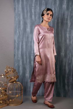 MASHRU SALWAR KAMEEZ SET OF 2 - OLD ROSE