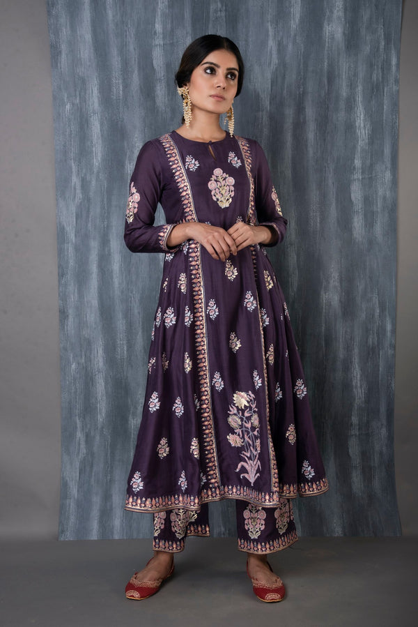 FOIL PRINTED ANARKALI SET - PURPLE