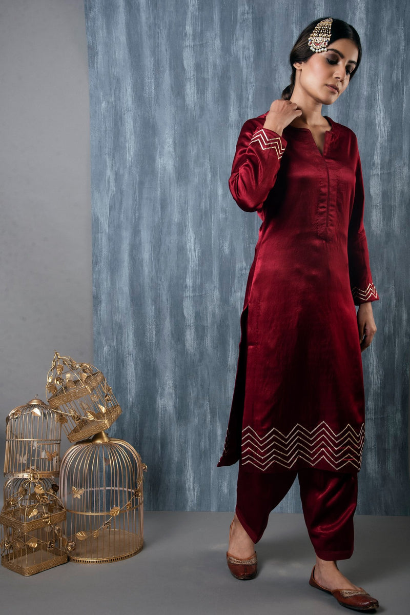 MASHRU SALWAR KAMEEZ SET OF 2 - RED