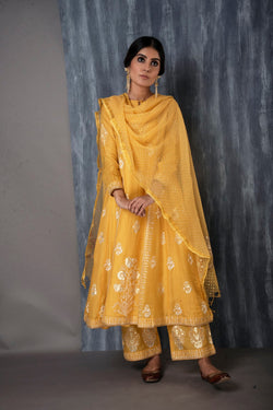 FOIL PRINTED ANARKALI SET -MUSTARD YELLOW