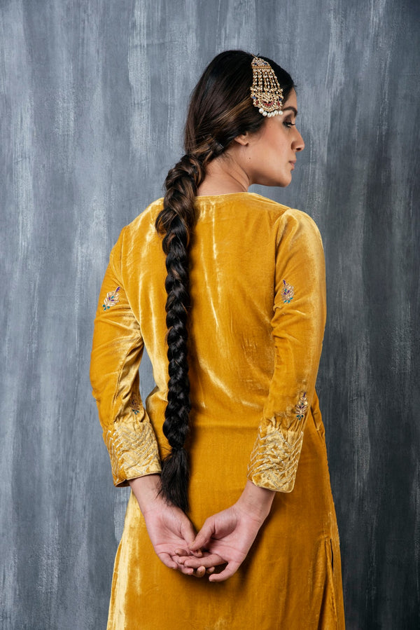HAND EMBROIDERED VELVET SALWAR SET OF 2 - MUSTARD YELLOW