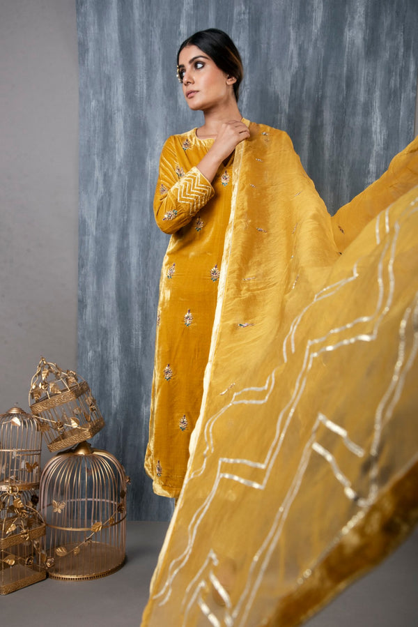 HAND EMBROIDERED VELVET SALWAR SET WITH ORGANZA DUPATTA SET OF 3 - MUSTARD YELLOW