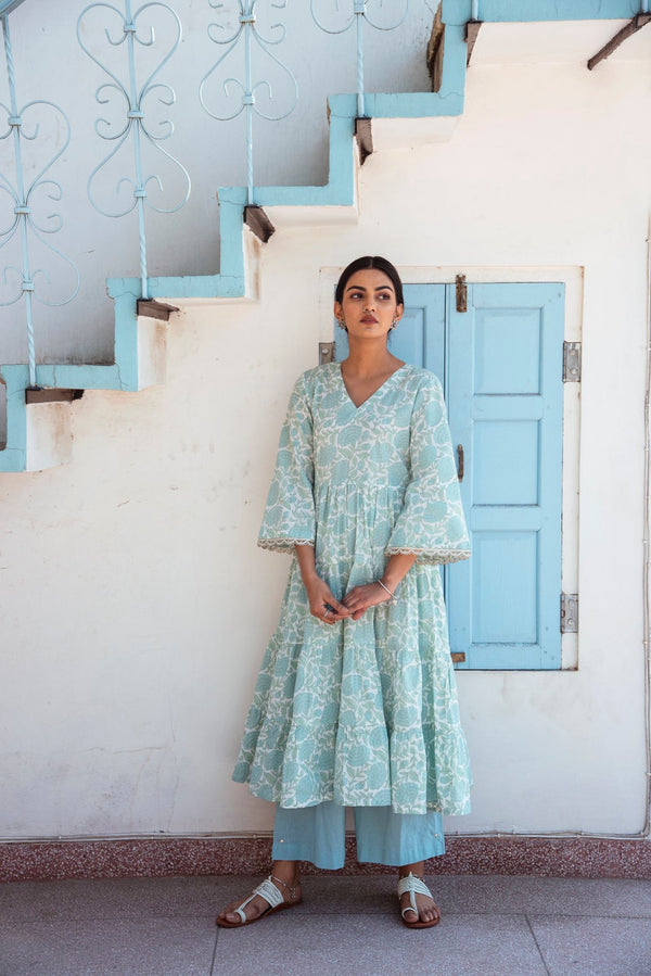 BLOCK PRINTED TIER FLARED KURTA - BLUE