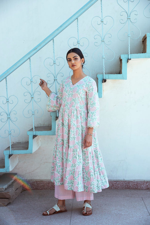 BLOCK PRINTED TIER FLARED KURTA - Pink