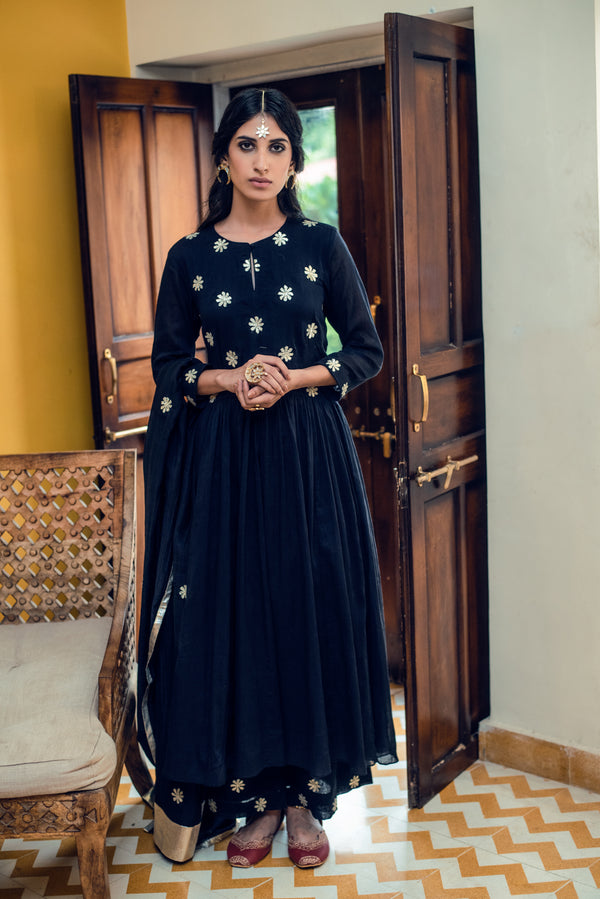 FLOWER GOTA YOKE GATHER DROP WAIST GATHER ANARKALI SET 0F 3 - BLACK